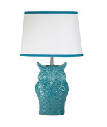 Cute Trendy Blue Owl Ceramic Table Lamp with Wh... - $69.99
