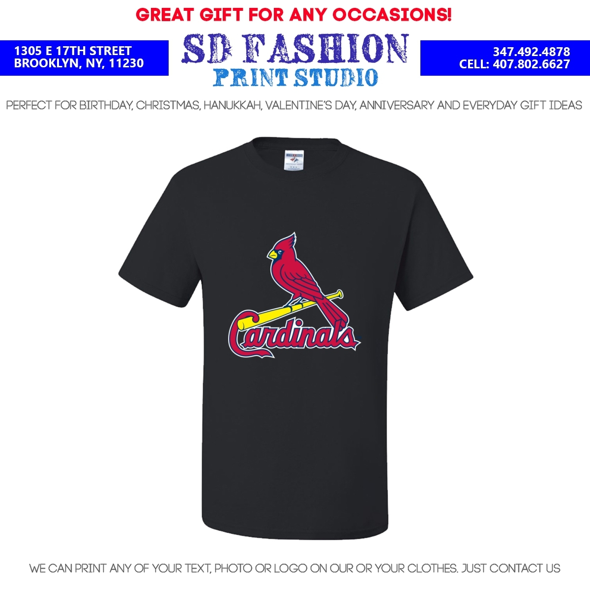 St louis cardinals t shirt many colors sizes free for Cardinal color t shirts