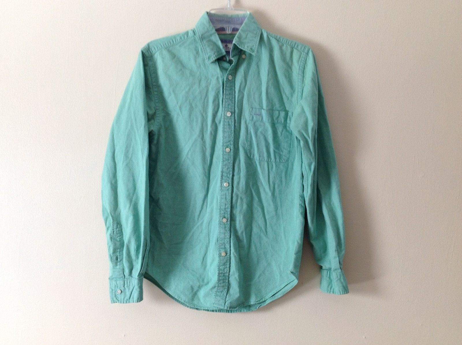 Mens CTF Mint Green Tailored Collared Dress Shirt Sz 38