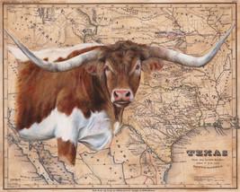 Texas Longhorn Map by Patty Pendergast Longhorn Steer Wildlife Canvas 32x40 - $395.01