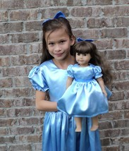 Handmade Elegant Peter Pan Wendy Satin Costume 2PC Dress Set Sz S/M/L - $179.98