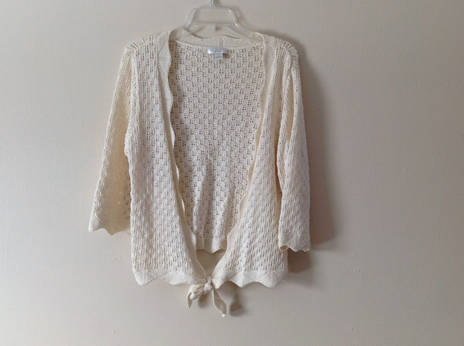 Ladies Christopher and Banks Ivory Colored Crocheted Cardigan Sz L