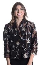 6 NWT Di Vita Di Luxe Brown Button Front Floral Embroidery Taffeta 3/4 J... - $243.54