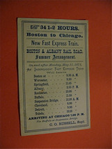 Boston to Chicago  New Fast Express Train 1871 train Schedule - $12.00