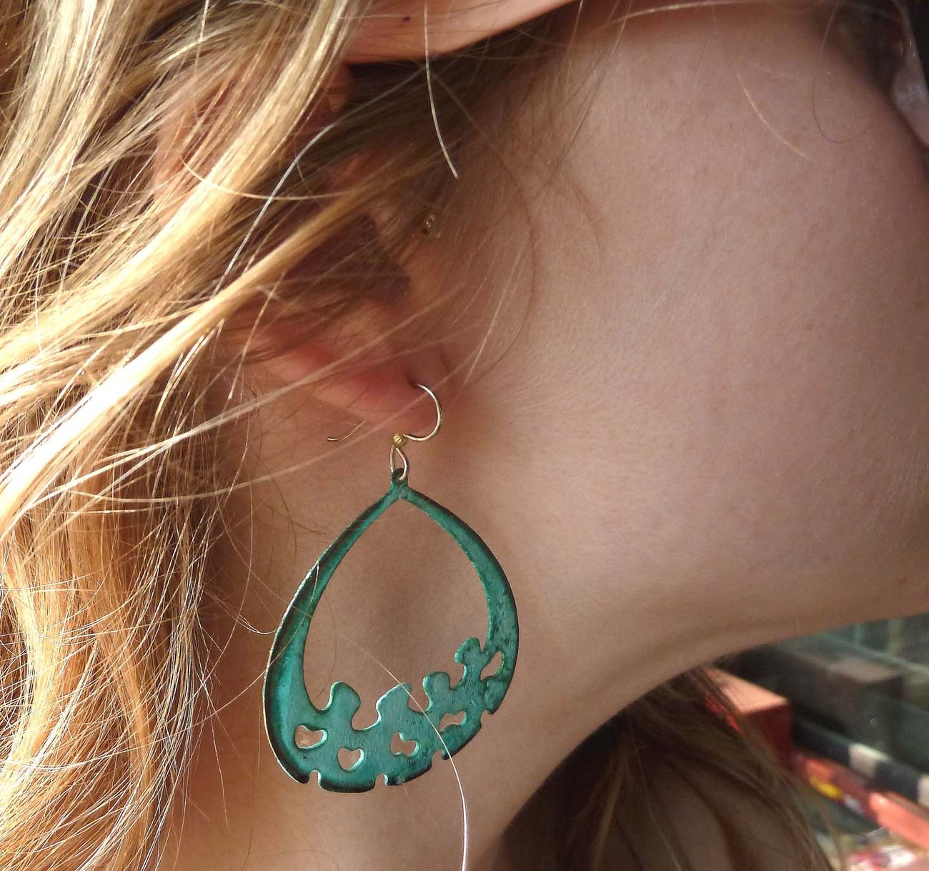 Limited edition Verigris turquoise  brass earrings by Michael Tarillion