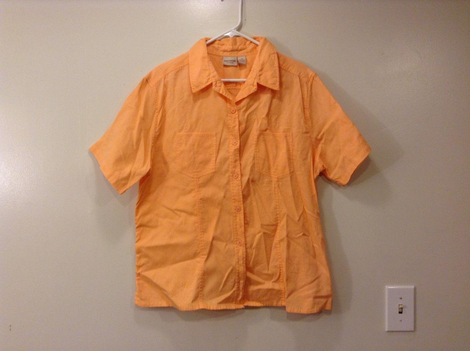 Crossroads woman orange short sleeve button-up  shirt