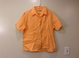 Crossroads woman orange short sleeve button-up  shirt