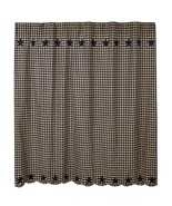 "Farmhouse Style Fabric Black Star Shower Curtain 72"" Rustic Bath Home De... - $57.99"