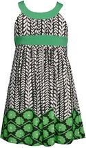 Bonnie Jean Little Girl 2T-6X Green U-neck Floral Print Knit Sheath Dress