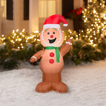 Gemmy Airblown Inflatable 4.5' X 4' Gingerbread Man Boy Christmas Decora... - $36.45
