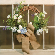 Beautiful Rustic Egg & Floral Wreath Burlap Bow... - $67.99