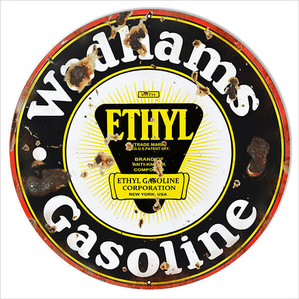 Aged Looking Wadhams Ethyl Gasoline Sign 18 Round - $44.50
