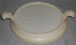 1940s Fire King IVORY TAB HANDLED Embossed SERVER or CASSEROLE STAND - $11.87