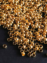 50 pcs Gold Plated Metal Bead Round 2mm for Jewelry Design Finding - $3.91