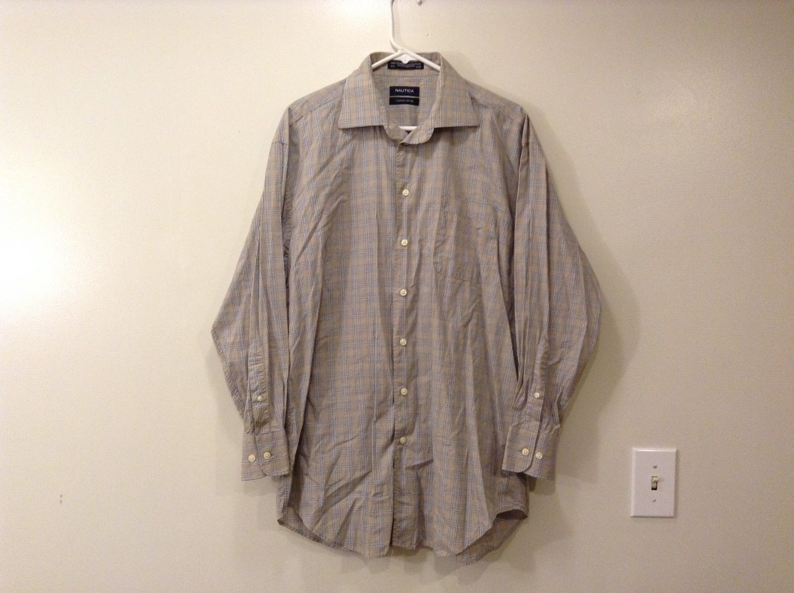 Mens Nautica 100% cotton Plaid tan/blue shirt size  16 1/2