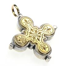 Gerochristo 5223 -  Solid Gold & Silver Byzantine Medieval Cross Pendant  - $690.00