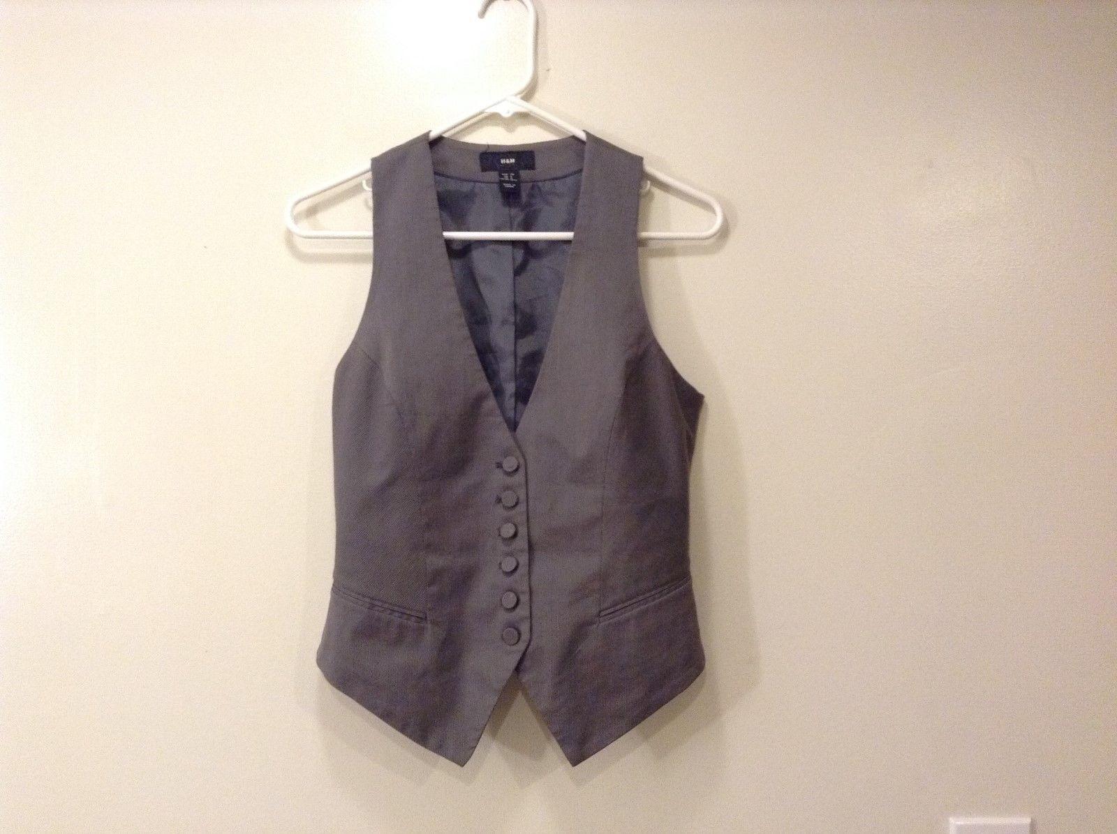 Ladies H & M Stripes Gray vest  Size 6