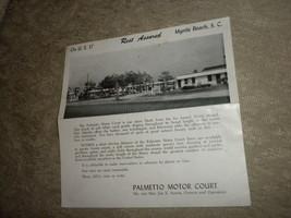 Palmetto Motor Court in Myrtle Beach, SC brochure w photos; Joe Smith, o... - $5.99