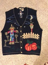 Bobbie Brooks Women's Sweater Vest 22w/24w Black Scare Crow Pumpkin Fall... - $33.25