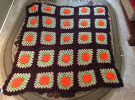 flower Afghan Blanket Throw 4.5ft X 4ft Orange And Brown - $42.75