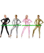 13 COLOR UNISEX SHINY METALLIC BODY SUIT SEXY FRONT ZIPPER CATSUIT COSTU... - $32.99