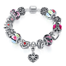 925 Silver Crown Charm Bracelet Murano Glass Beads Popular Russia Brazil... - $14.10