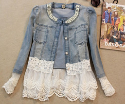Slim Lace Patchwork Beading Vintage Denim Jacket - $45.83+