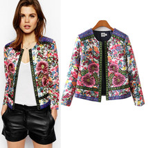 Retro Floral Embroidery Print Jacket - $56.99