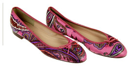 J Crew Kiki Leather Ballet Flats in Paisley Size 9.5 Multi-color New F5514 - $138.59