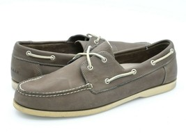 Cole Haan Mens 13M Gray Leather 2 Eyelet Lace Up Round Moc Toe Casual Bo... - $29.99