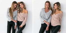 V Neck Batwing Long Sleeve Sweater - $42.99+