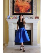 Casual Flare High Waist Pleated Pockets Vintage Midi Skirt - $46.99