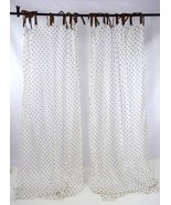 Lot of 2 POTTERY BARN TEEN White Brown Polka Dot Sheer Cotton Curtains 4... - $19.79
