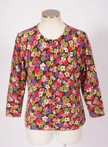 TALBOTS Floral Print Cotton Jersey Cardigan 3/4 Sleeve Lightweight Sweat... - $18.79