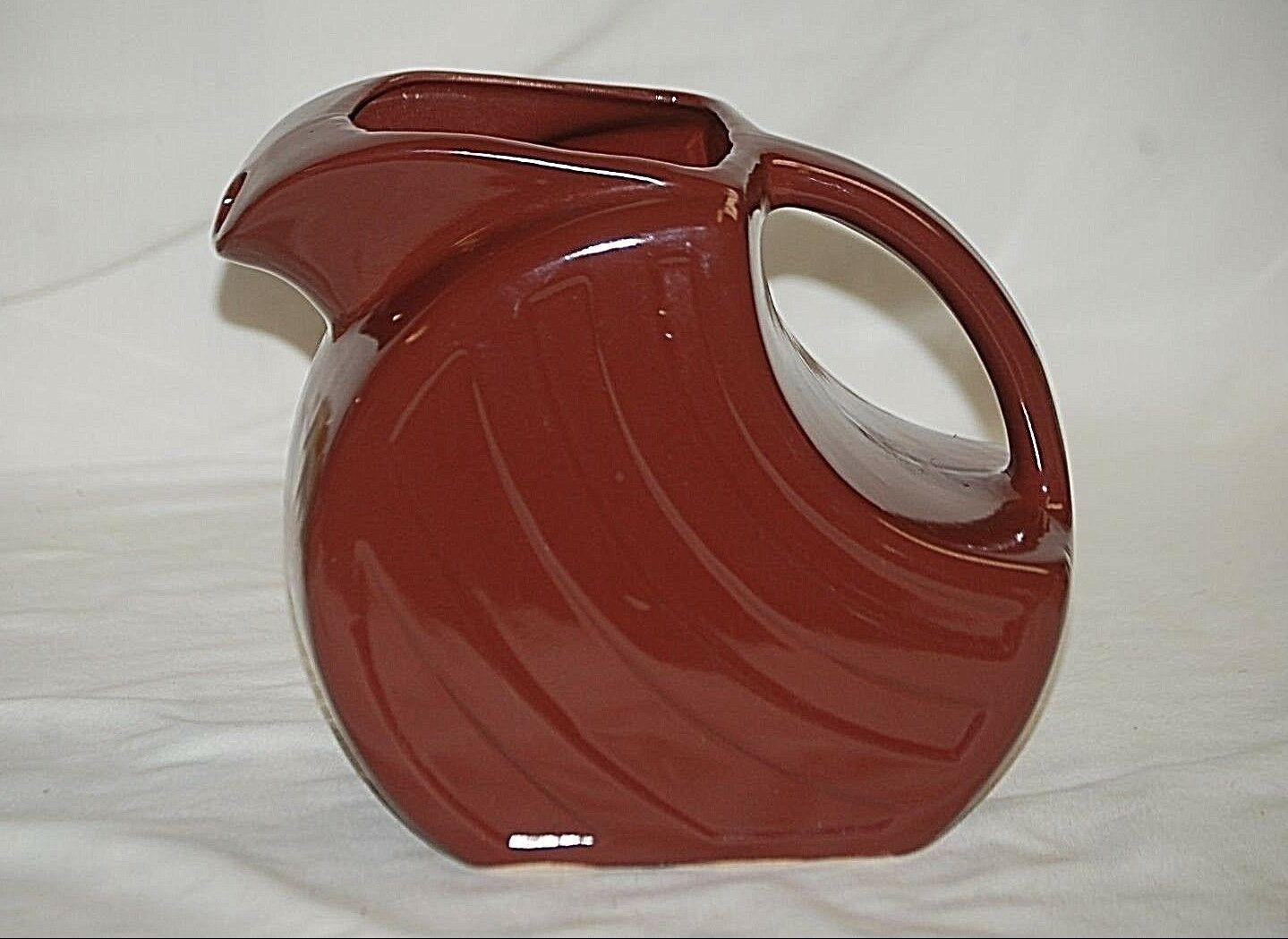 Old Vintage Retro Brown Ceramic Ice Box Refrigerator Pitcher Unknown Maker - $39.59