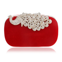 ladies gorgeous peacock bridesmaid rhinestones evening banquet bag  - $23.00
