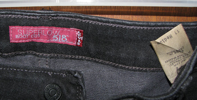 Levi's 518 Superlow Boot Cut Black Jeans Size 11 Medium 35x33