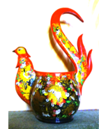Vintage Wooden Bowl Firebird Folk Art Kitchen Utensil Khokhloma USSR Sov... - $50.00