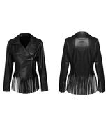 QASTAN Women's New Tassels / Fringes Hem Motorcycle Leather Biker Jacket... - $157.88