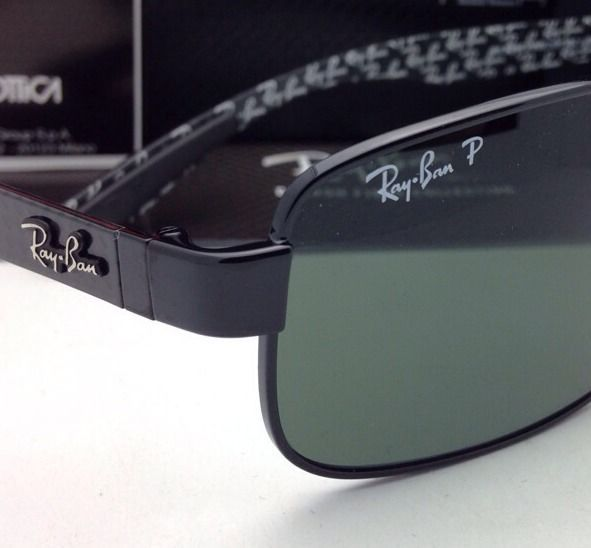 c4a84217ee2a4 New POLARIZED RAY-BAN Tech Series Sunglasses RB 8316 002 N5 62-18 Black  w Green