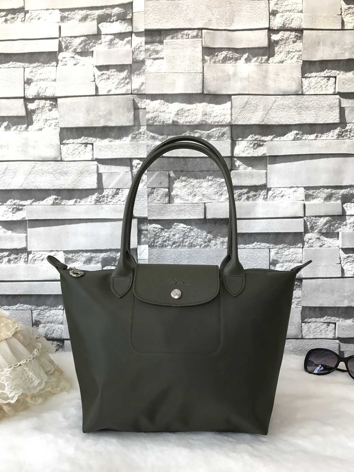 best service ee96a f483f Img 0563. Img 0563. Previous. Longchamp Le Pliage Neo Small Tote Bag Khaki  Green 2605578292 Authentic