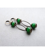 green faceted agate dangle earrings.  - $28.00