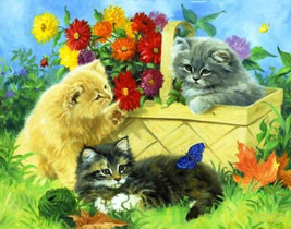 Playing In The Flowers Cross Stitch Pattern***L@@K***~~ I SEND WORLD-WID... - $4.95