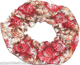 Floral Hair Scrunchie Brown Red PInk  Scrunchies by Sherry Flowers - $6.99