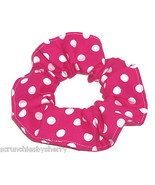 Hot Pink with White Polka Dots Fabric Hair Scrunchie Scrunchies by Sherry  - $6.99
