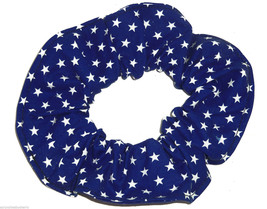 Blue with White Stars Fabric Hair Scrunchie Scrunchies by Sherry Ponytail Holder - $6.99