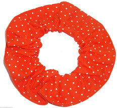 Bright Orange Tiny  White Polka Dots Fabric Hair Scrunchie Scrunchies by Sherry  - $6.99