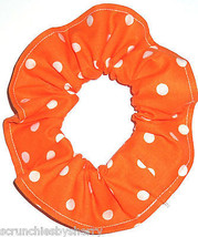 Bright Orange  with White Polka Dots Fabric Hair Scrunchie Scrunchies by Sherry  - $6.99