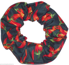 Red Hot Chilli Peppers Green Fabric Hair Scrunchie Scrunchies by Sherry  - $6.99