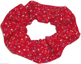 Floral Hair Scrunchie Red Tiny Flowers Fabric Scrunchies by Sherry Ponytail  - $6.99